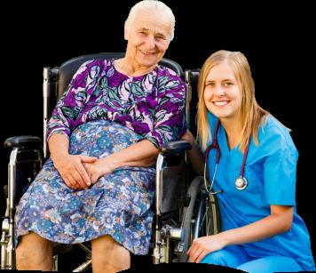 Senior sitting on a wheelchair accompanied by a nurse